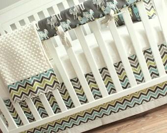 Woof Woof Doggie Bumperless Crib rail cover bedding set