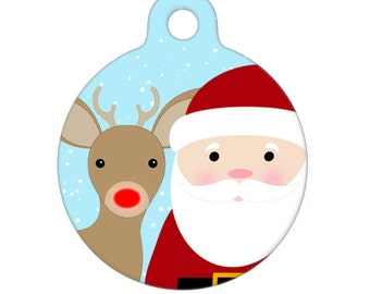 Pet ID Tag - Santa and Rudolph Selfie - Pet Tag, Dog Tag, Cat Tag, Luggage Tag, Child ID Tag