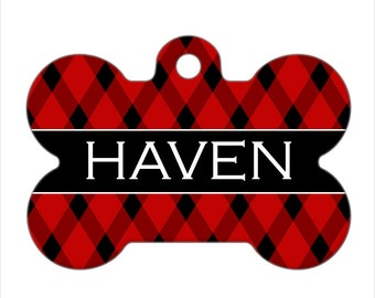 Personalized Pet ID Tag - Haven Custom Name Striped Bone Pet ID Tag, Dog Tag