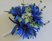 Cobalt Blue Bridal Bouquet, Cobalt and Green Bridesmaids Bouquet, Dahlia and  Hydrangea Bouquet, Wedding Package, Shabby Chic Bouquet
