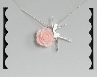 Sterling Silver Ballerina Necklace, Ballet Dancer Necklace, Mint Rose, Birthday Gift, Children's Jewelry, Kids Jewelry, Girl's Gift