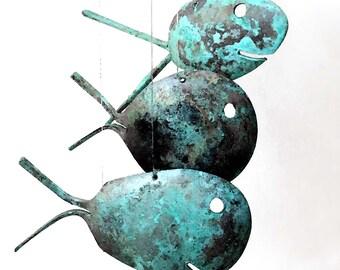Door Mounted Bell Fish Rustic Spoon Wind Chimes, Vintage Doorbell, Shop Keepers Alarm, Store Customer Warning Alert, Wedding Dinner Bells,