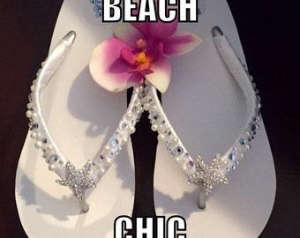 Bridal Flip Flops/Wedges. Wedding Flip Flops/Sandals.White Flip Flops.Rhinestone/Pearl Flip Flops.Beach Weddings.Wedding Shoes