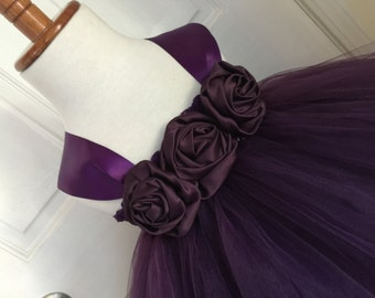 Plum Satin Tutu Dress- Plum Lace Tutu Dress- Eggplant Tutu Dress- Flower Girl Dress