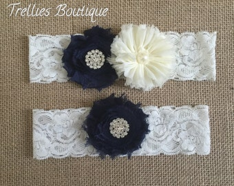 Navy Blue Ivory Lace Rhinestone Pearl Bridal Garter Set, Wedding Garter,  White, Ivory, Wedding, Headband