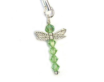 Dragonfly Charm Green Crystal Ornament