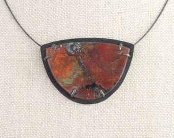 Sonora Sunset Necklace Pendant Red Cuprite Black Malachite Chrysacolla