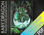 BABY DRAGON Polymer Clay Journal Tutorial -  dragon skin texture baby egg shell
