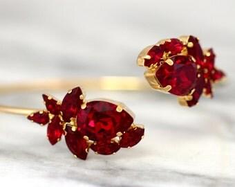 Ruby Bridal Bracelet, Red Ruby Crystal Bracelet, Swarovski Bridal Bracelet, Gift for her, Gold Cuff Bracelet, Garnet Crystal Bracelet