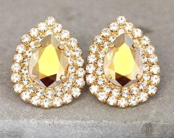 Swarovski Earrings,Bridal Swarovski Earrings,champagne Bridal Teardrop Stud Earrings,Gold Crystal Bridal Earrings,champagne Crystal Studs