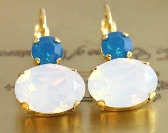 White Opal Drop Earrings,Swarovski Opal Drop Earrings,Bridal Something Blue,Crystal Drop Bridal Earrings,Opal Dangle Earrings,Gift for her