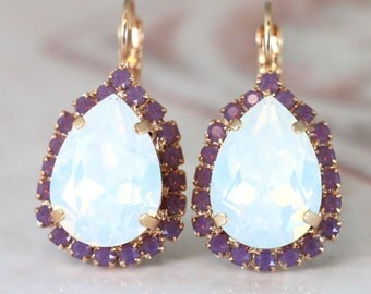 White Opal Earrings,Swarovski Opal Earrings,White Opal Drop Earrings,Purple Crystal Earrings,Bridal Opal Swarovski Dangle Earrings