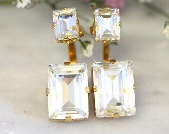 Ear Jacket Earrings,White Swarovski Crystal EarJackets Earrings,Bridal Crystal Earrings,Back Front Earrings,Ear Climbing Bridal Earrings