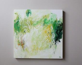 Green abstract painting- Original Fine Art Acrylic,lime green abstract art, modern abstract art Canvas Wall art - contemporary art