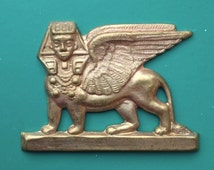 BWB Totally Regal Egyptian Revival Brass Stamping Winged and Standing Sphinx  (1)
