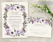 Floral Wedding Invitation Printable Suite Boho Wedding Invite Floral Wedding Customizable Wedding DIY Wedding Invitation Set Purple Lavender