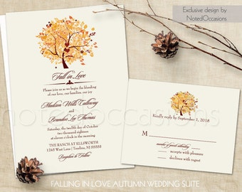 Rustic Fall Wedding Invitation Set Printable | Autumn Oak Tree with Fall Leaves Invitation RSVP Digital Printable Template DIY Fall Leaves