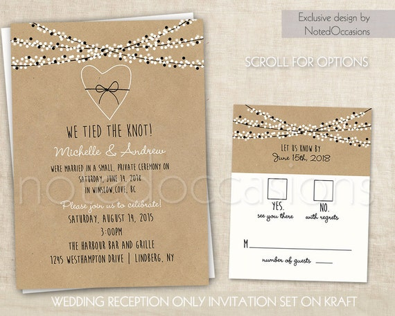 Wedding Reception Only Invitations On Kraft Paper Rustic
