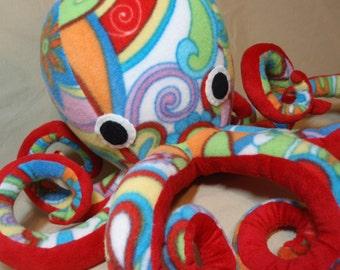 Nikola the Crazy Colorful Floral Print Fleece Plush Octopus - Stuffed Ocean Marine Sea Creature Animal
