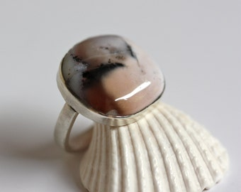 Sterling Silver Ring with Dendritic (Landscape) Opal