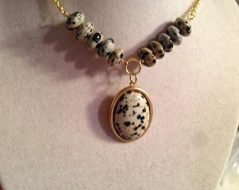 Dalmatian Jasper Necklace - Gemstone Pendant Jewelry - Gold Chain Jewellery - Fashion - Trendy