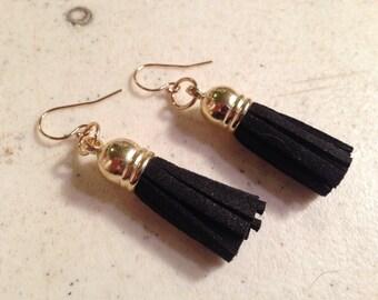 Black Earrings - Leather Tassel Jewelry - Gold Jewellery - Fashion - Trendy - Style