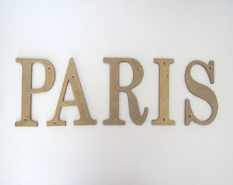 Vintage brass letters/ PARIS/ large patina letters/ French decor
