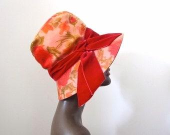 1960s Mr. John Jr. Hat - vintage wide brim dressy hat with floral print