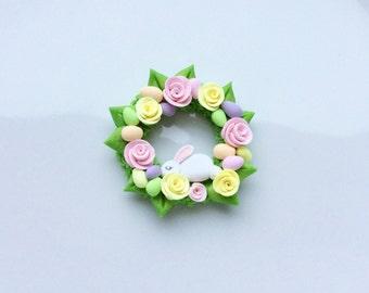 Miniature Easter bunny rabbit wreath with pretty roses for 1:12 scale dollhouse handmade from polymer clay