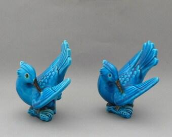Vintage Ceramic Sculptures Two Birds Aqua Blue Glaze Artist Signed Modern Folk Art Home and Garden Decor