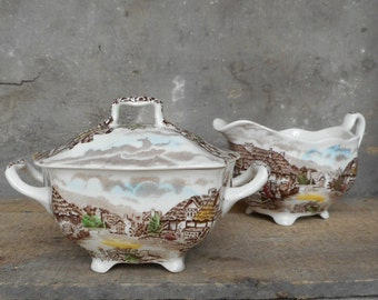Vintage Creamer Sugar Set Polychrome Transferware English Cottage Scenes Made in England Breakfast Serving Dish Dining Home Decor