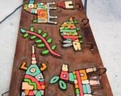 Fabulous Vintage Handmade ~1970s La Palma~RARE Find~El Salvador FOLK ART~ Pop Art Key Ring Holder