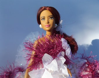 BARBIE Doll / toilet paper doll/ white dress with fluffy burgandy trim