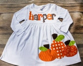 Girls Fall Dress - Fall Dress- Fall Pumpkin Dress - Fall Personalized Dress with Pumpkins -  You Choose Dress Color and Sleeve Length
