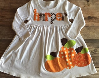 Fall Dress- Fall Pumpkin Dress - Fall Personalized Dress with Pumpkins -  You Choose Dress Color and Sleeve Length