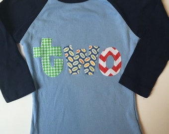 TWO Birthday, 2nd Birthday Shirt, Birthday Shirt for 2 year old,  Multiple Colors, Short or Long Sleeve