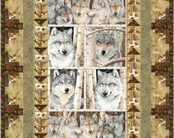 Wilderness Panel Wolf Quilt ePattern, 3712-2, lap quilt pattern, preprinted Panel quilt pattern, wolf lap quilt
