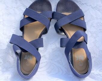 Navy Blue Espadrille Stretchy Strap Sandals - Vintage Air Flex - Size 7 - Good Condition - Comfortable Shoes - Strappy Sandals