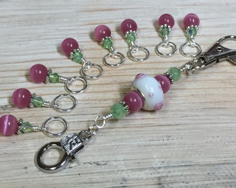 Pink Stitch Marker Set & Matching Holder, Snag Free Markers, Gift for Knitters