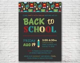 Back to School Icons Invitation - Printable or Printed (w/ FREE Envelopes)