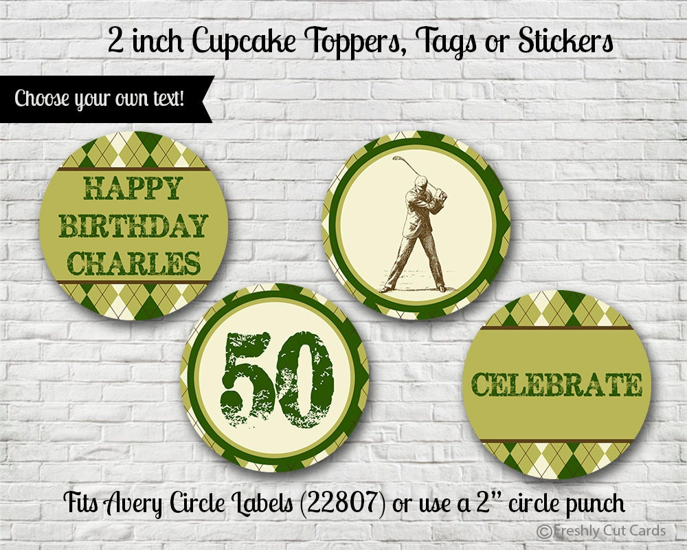 Argyle Golf Themed 2 Cupcake Toppers or Stickers