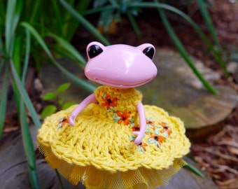 Embroidered Crochet Dress and tutu for Wanda Frog