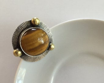 Gas Giant: Stunning Tiger's Eye Ring with Brass Accents, size 8
