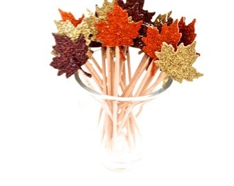 24 Autumn Fall Colored Glitter Maple Leaf Cupcake Toppers - Party Picks - Food Picks