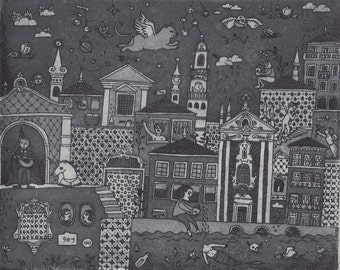 Oporto Aquatint Etching Detailed Original Fine Art Print