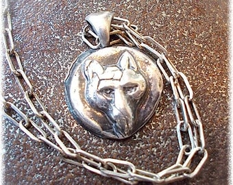 DONATION TO LUPUS Foundation  Antique Recycled Silver Wolf Necklace Wax Seal Jewelry. Your Daily Jewels  Jewellery