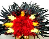 "Fire Phoenix Grand Deco Feather Collar Reversible Red/Black 47X33"" USA"