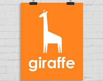 Giraffe Art Print, Jungle Wall Art Nursery Art, Kids Wall Art, Playroom Art, Childrens Art, Modern Nursery Print, Giraffe Art, Printable Art