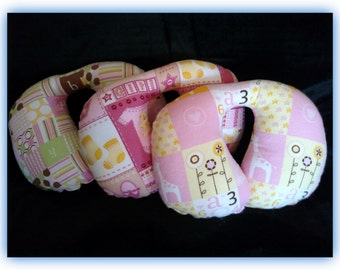 Travel Pillow - Car Seat Neck Support - Infant to Adult Sizes - Baby Girl Prints