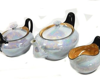 Art Deco Czech Lusterware Teapot Creamer and Sugar Blue-Gray and Gold